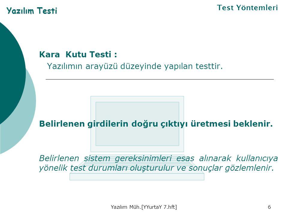 Yazılım Müh.[YYurtaY 7.hft]6 Kara Kutu Testi : Yazılımın arayüzü düzeyinde yapılan testtir.