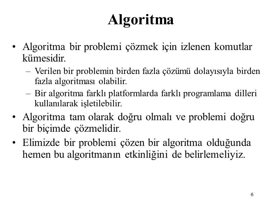 7 Algorithmik Performans Algoritmik performansın iki yönü vardır: Zaman (Time) Komutlar zaman alır.