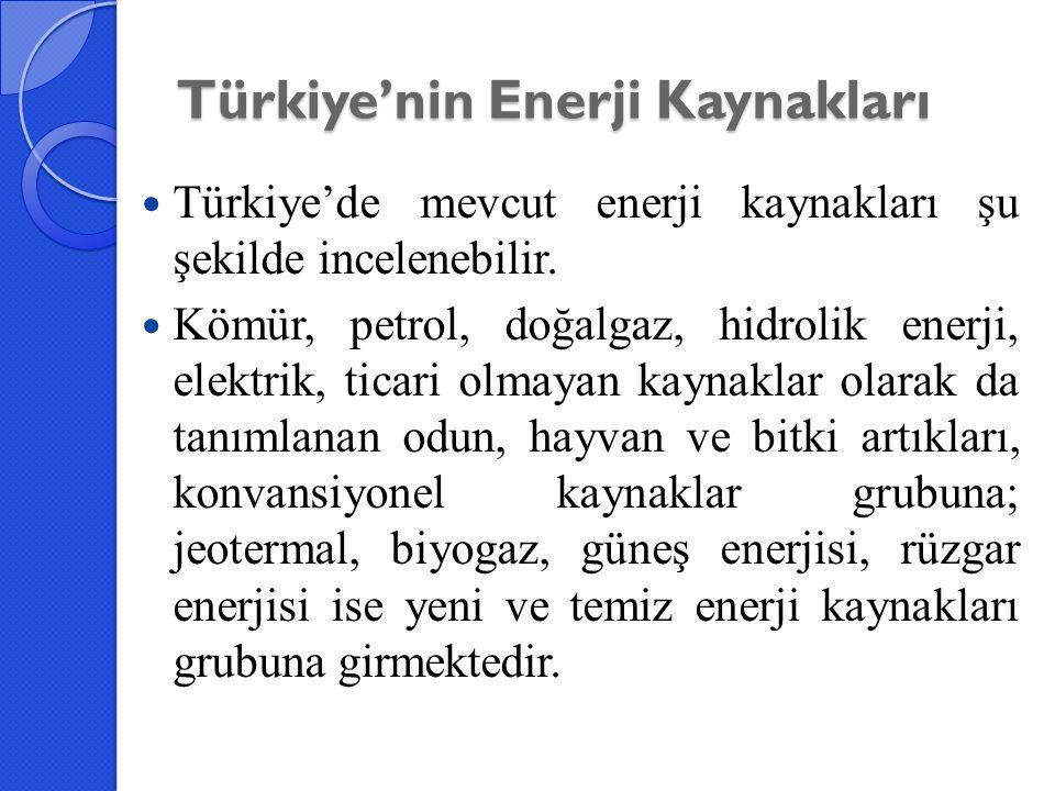Türkiye'nin Enerji Kaynakları Türkiye'de mevcut enerji kaynakları şu şekilde incelenebilir. Kömür, petrol, doğalgaz, hidrolik enerji, elektrik, ticari