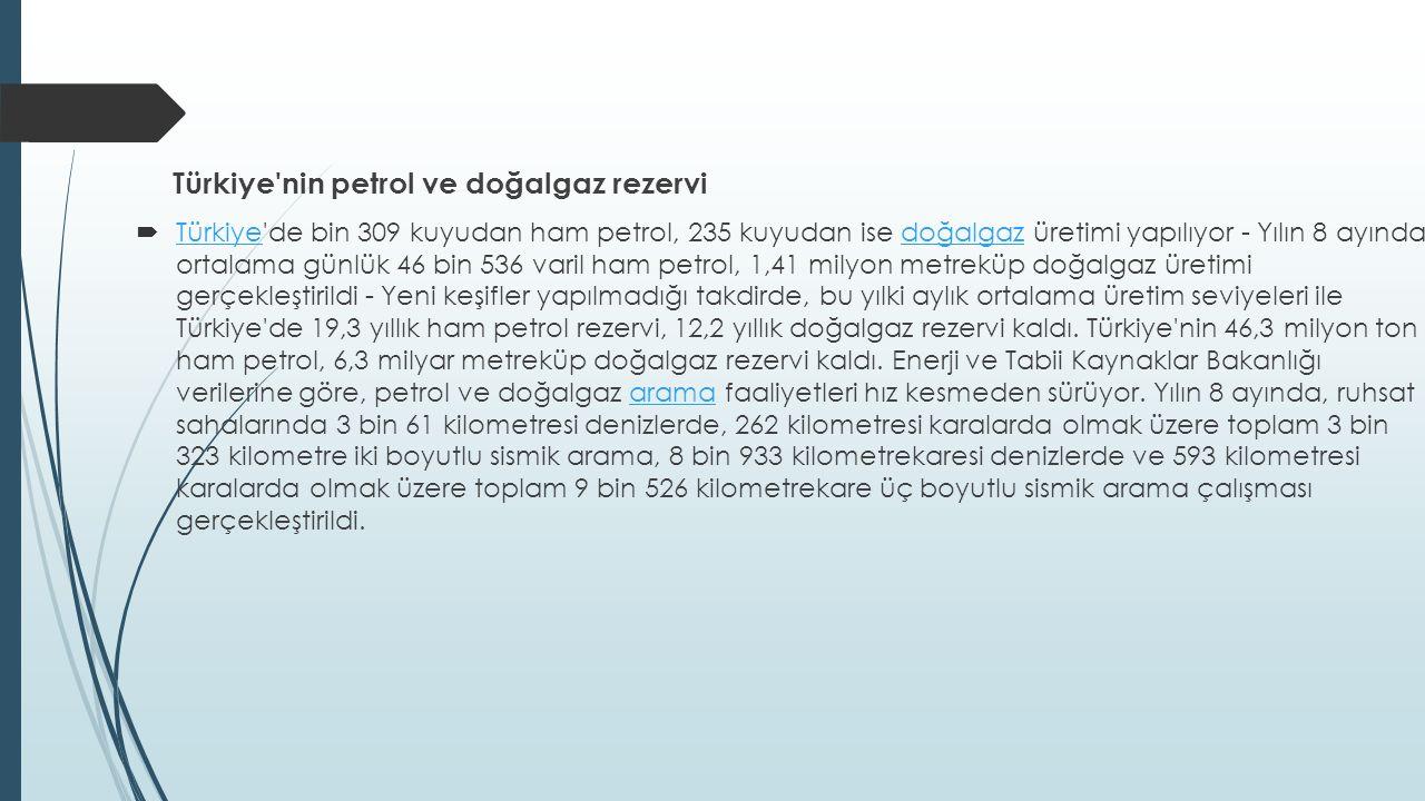 Türkiye nin petrol ve doğalgaz rezervi  Türkiye de bin 309 kuyudan ham petrol, 235 kuyudan ise doğalgaz üretimi yapılıyor - Yılın 8 ayında ortalama günlük 46 bin 536 varil ham petrol, 1,41 milyon metreküp doğalgaz üretimi gerçekleştirildi - Yeni keşifler yapılmadığı takdirde, bu yılki aylık ortalama üretim seviyeleri ile Türkiye de 19,3 yıllık ham petrol rezervi, 12,2 yıllık doğalgaz rezervi kaldı.