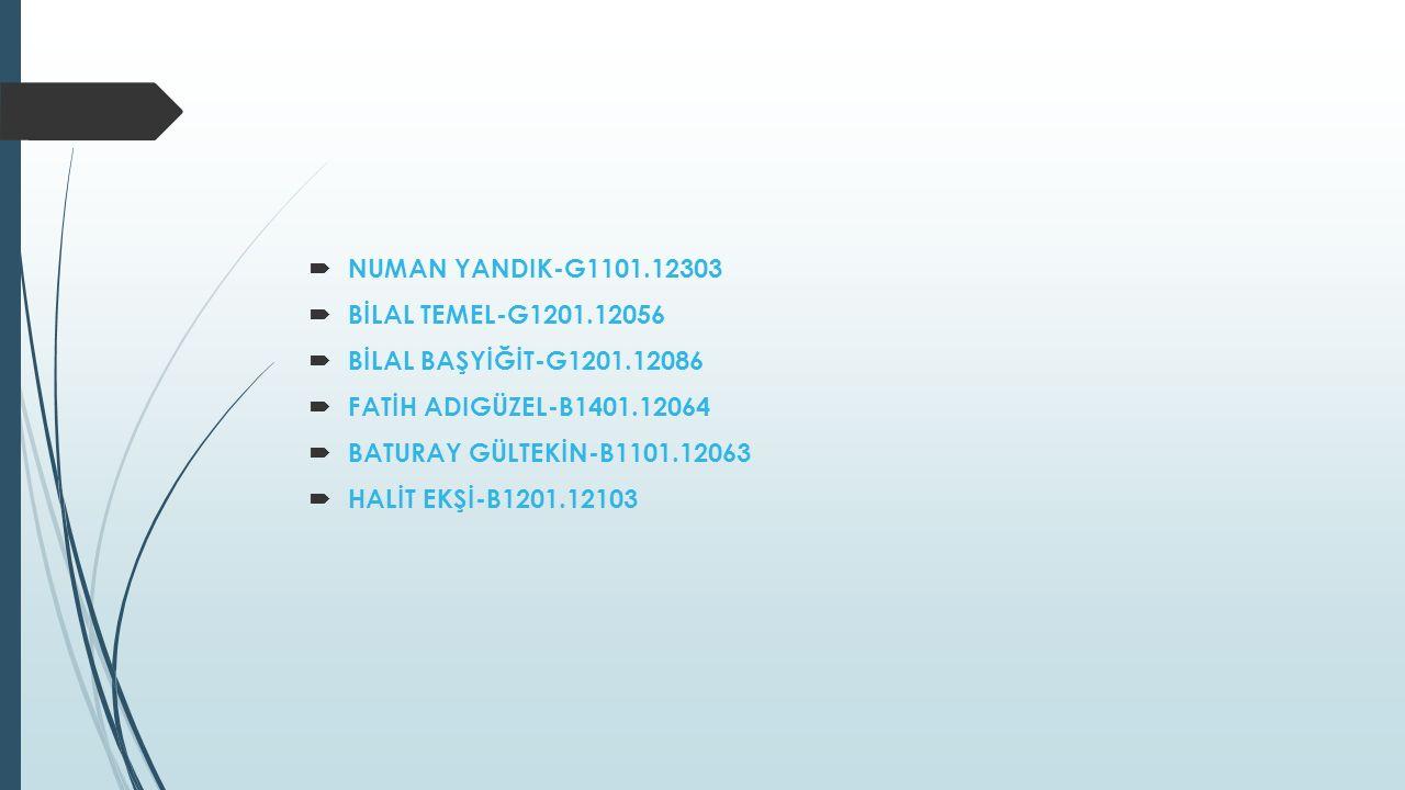  NUMAN YANDIK-G1101.12303  BİLAL TEMEL-G1201.12056  BİLAL BAŞYİĞİT-G1201.12086  FATİH ADIGÜZEL-B1401.12064  BATURAY GÜLTEKİN-B1101.12063  HALİT EKŞİ-B1201.12103