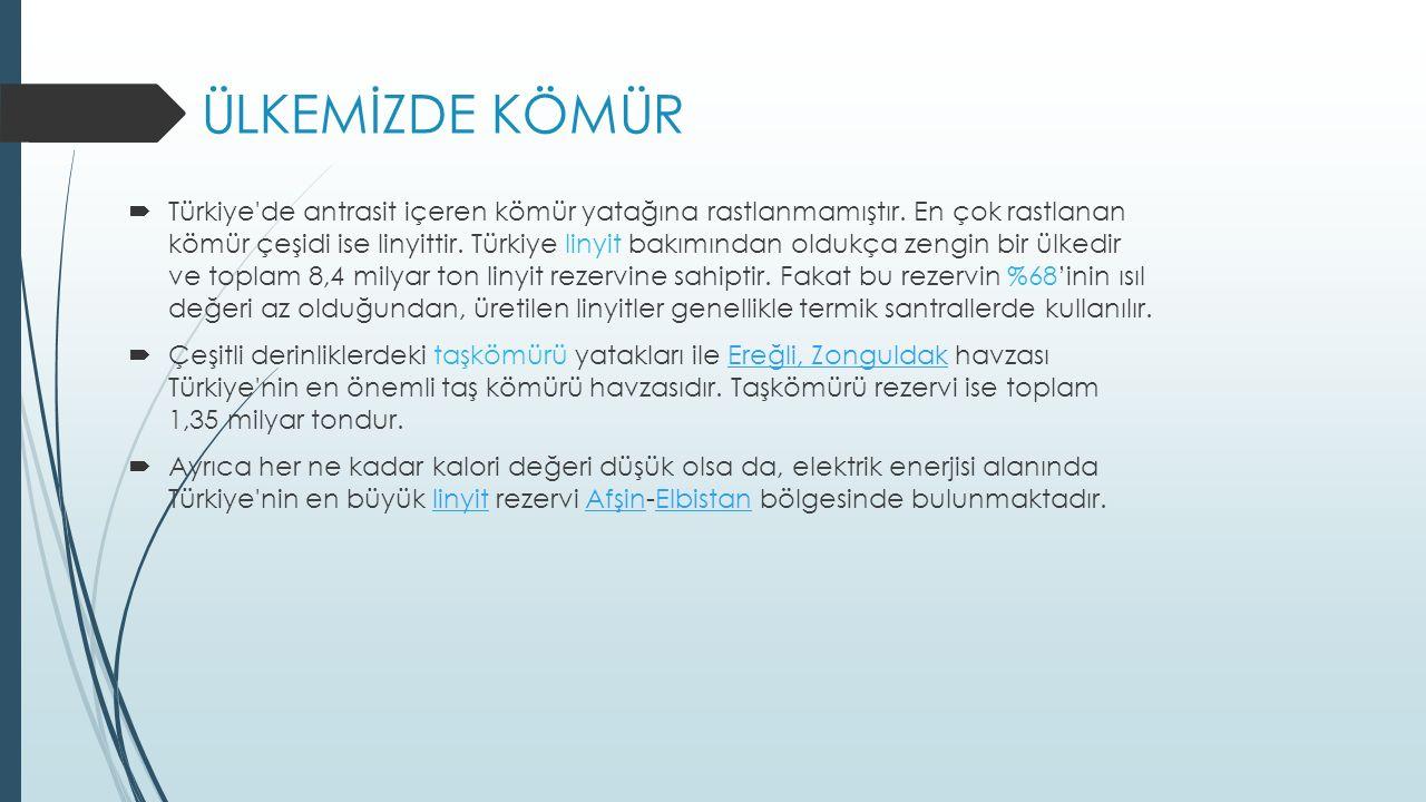 ÜLKEMİZDE KÖMÜR  Türkiye de antrasit içeren kömür yatağına rastlanmamıştır.