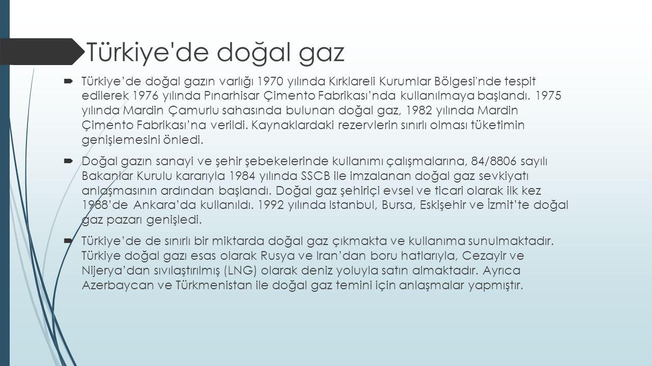  Türkiye de doğal gaz  Türkiye'de doğal gazın varlığı 1970 yılında Kırklareli Kurumlar Bölgesi nde tespit edilerek 1976 yılında Pınarhisar Çimento Fabrikası'nda kullanılmaya başlandı.