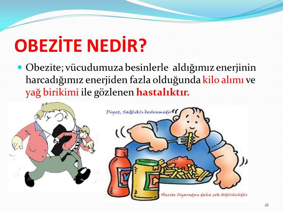 OBEZİTE NEDİR? Obezite; vücudumuza besinlerle aldığımız enerjinin harcadığımız enerjiden fazla olduğunda kilo alımı ve yağ birikimi ile gözlenen hasta
