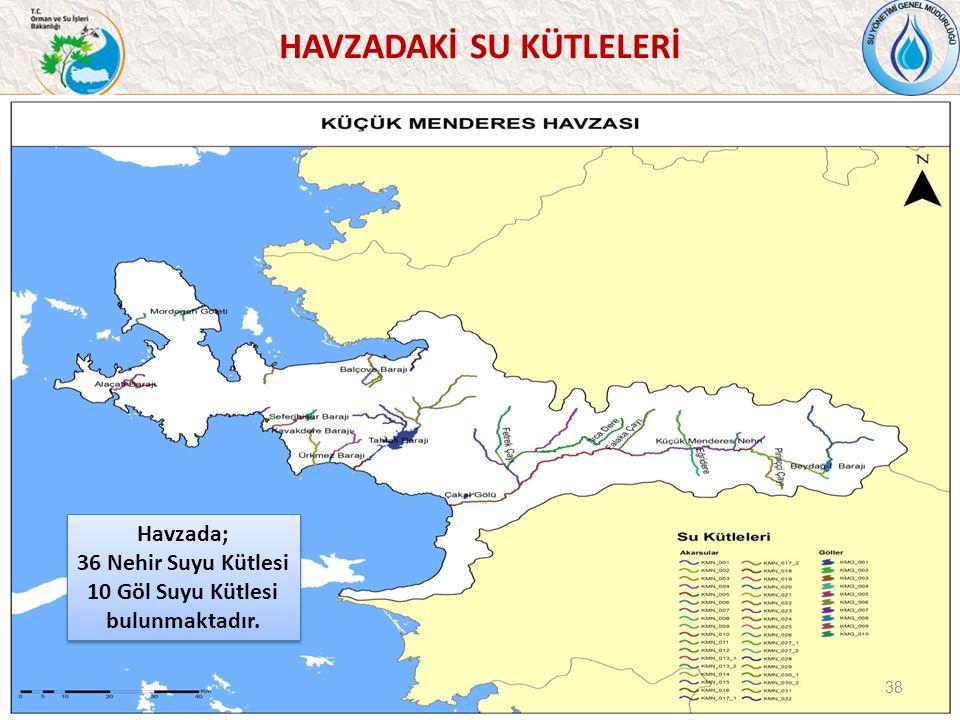 38 Havzada; 36 Nehir Suyu Kütlesi 10 Göl Suyu Kütlesi bulunmaktadır.