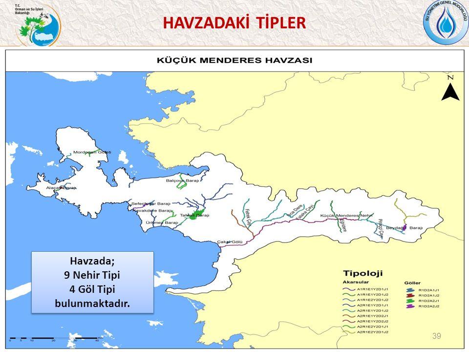 39 Havzada; 9 Nehir Tipi 4 Göl Tipi bulunmaktadır.