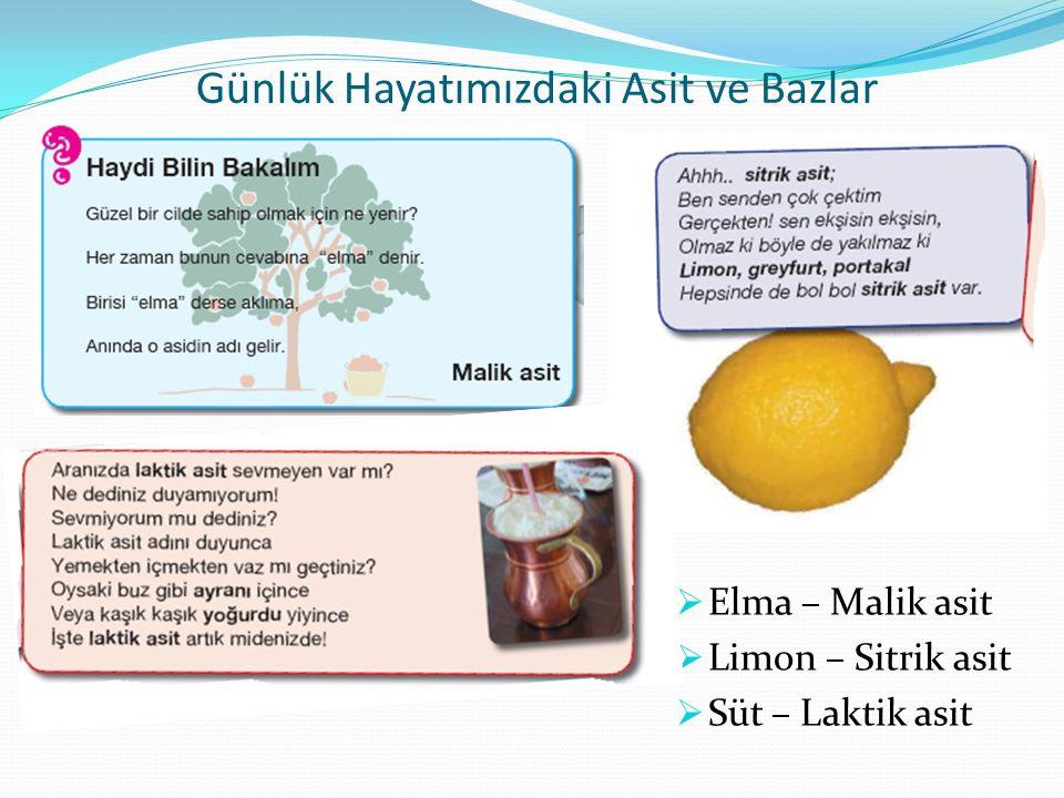Günlük Hayatımızdaki Asit ve Bazlar  Elma – Malik asit  Limon – Sitrik asit  Süt – Laktik asit