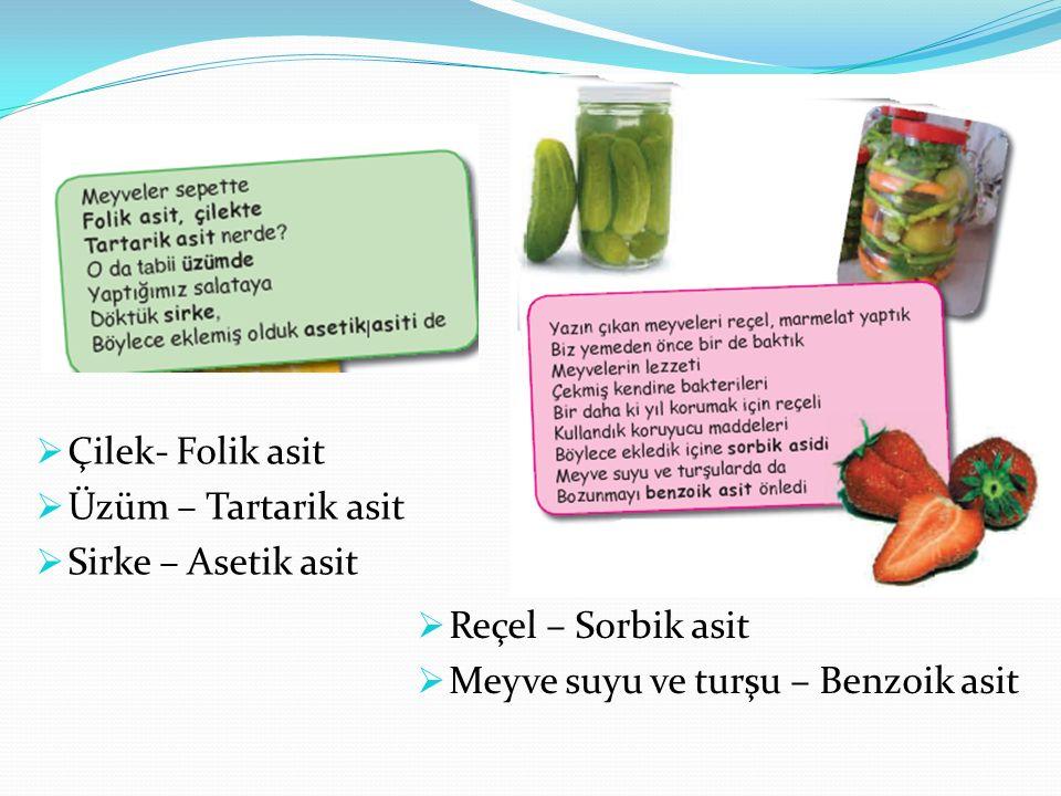  Çilek- Folik asit  Üzüm – Tartarik asit  Sirke – Asetik asit  Reçel – Sorbik asit  Meyve suyu ve turşu – Benzoik asit