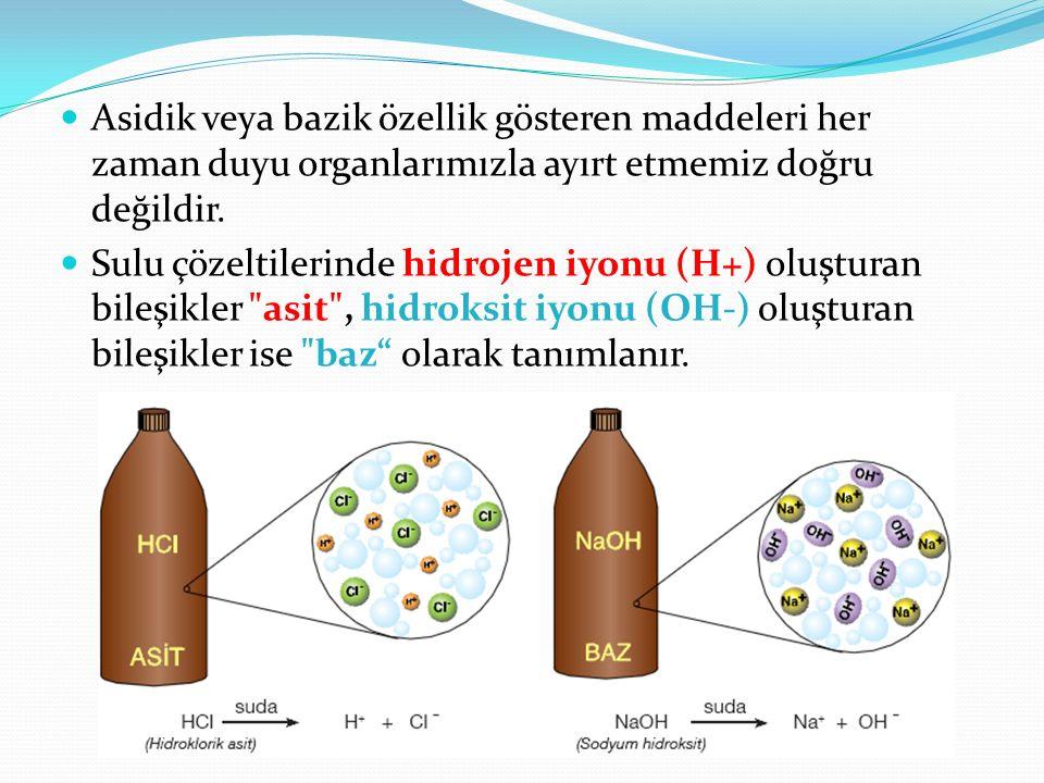 Asidik veya bazik özellik gösteren maddeleri her zaman duyu organlarımızla ayırt etmemiz doğru değildir. Sulu çözeltilerinde hidrojen iyonu (H+) oluşt