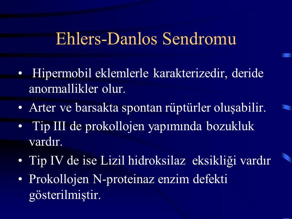 Ehlers-Danlos Sendromu Hipermobil eklemlerle karakterizedir, deride anormallikler olur. Arter ve barsakta spontan rüptürler oluşabilir. Tip III de pro