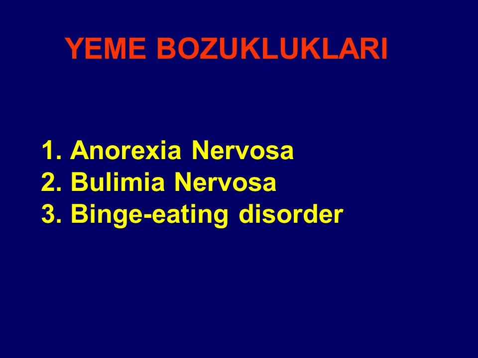 1. Anorexia Nervosa 2. Bulimia Nervosa 3. Binge-eating disorder YEME BOZUKLUKLARI
