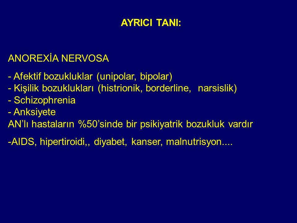 AYRICI TANI: ANOREXİA NERVOSA - Afektif bozukluklar (unipolar, bipolar) - Kişilik bozuklukları (histrionik, borderline, narsislik) - Schizophrenia - A
