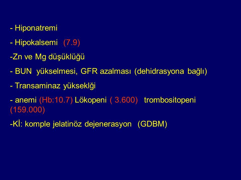 - Hiponatremi - Hipokalsemi (7.9) -Zn ve Mg düşüklüğü - BUN yükselmesi, GFR azalması (dehidrasyona bağlı) - Transaminaz yükseklği - anemi (Hb:10.7) Lö