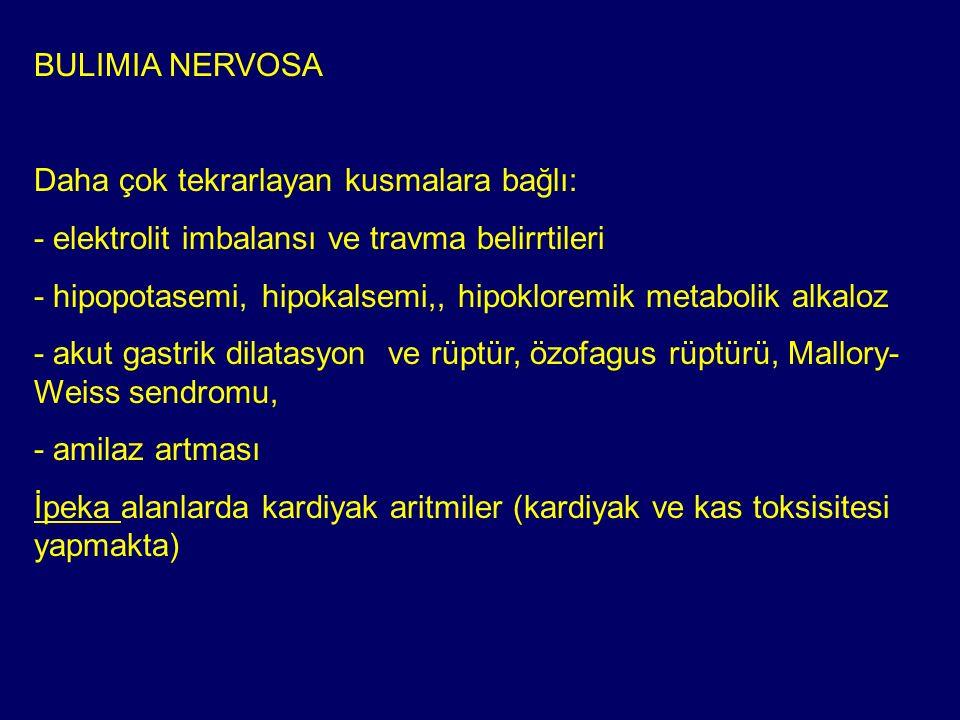 BULIMIA NERVOSA Daha çok tekrarlayan kusmalara bağlı: - elektrolit imbalansı ve travma belirrtileri - hipopotasemi, hipokalsemi,, hipokloremik metabol
