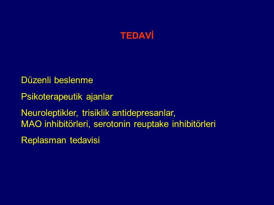 TEDAVİ Düzenli beslenme Psikoterapeutik ajanlar Neuroleptikler, trisiklik antidepresanlar, MAO inhibitörleri, serotonin reuptake inhibitörleri Replasm