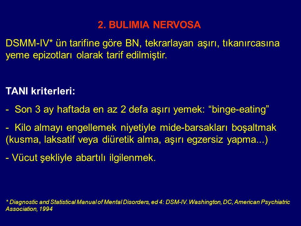 2. BULIMIA NERVOSA DSMM-IV* ün tarifine göre BN, tekrarlayan aşırı, tıkanırcasına yeme epizotları olarak tarif edilmiştir. TANI kriterleri: - Son 3 ay