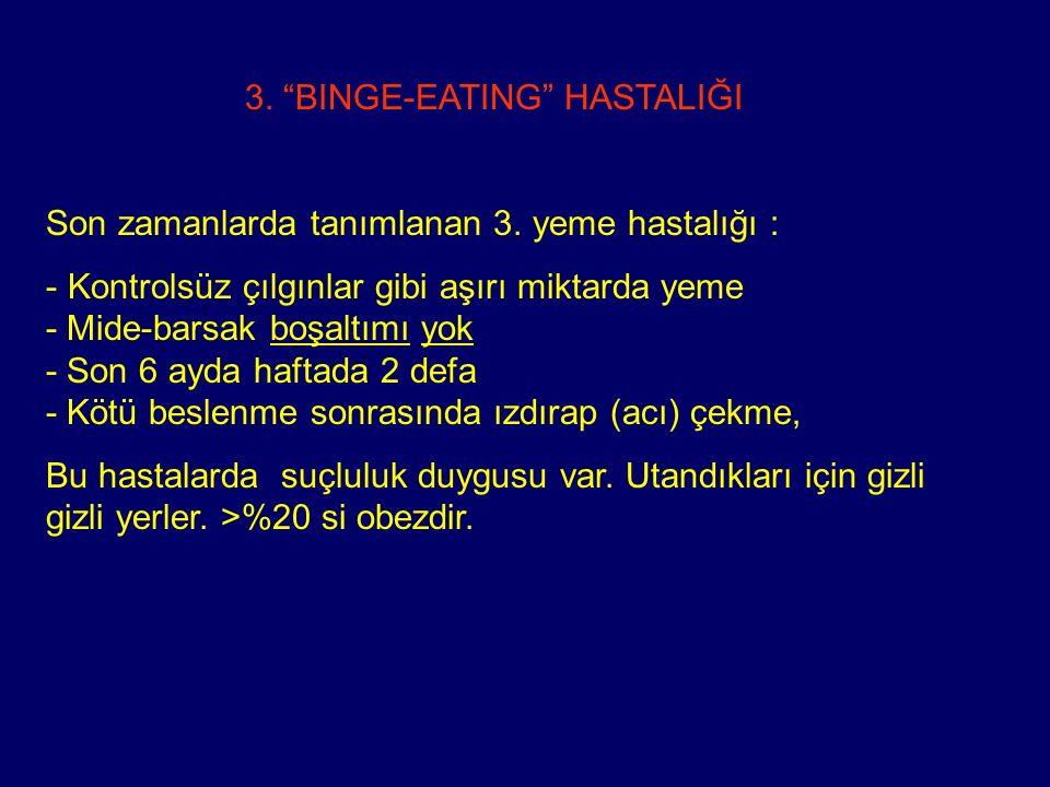 """3. """"BINGE-EATING"""" HASTALIĞI Son zamanlarda tanımlanan 3. yeme hastalığı : - Kontrolsüz çılgınlar gibi aşırı miktarda yeme - Mide-barsak boşaltımı yok"""