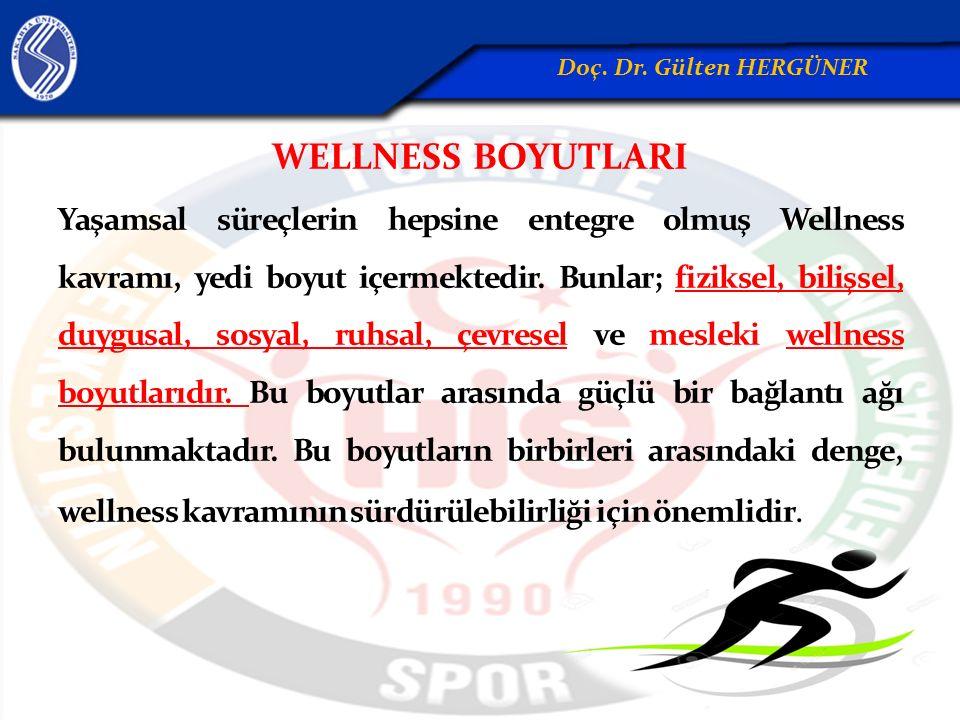 WELLNESS BOYUTLARI Yaşamsal süreçlerin hepsine entegre olmuş Wellness kavramı, yedi boyut içermektedir. Bunlar; fiziksel, bilişsel, duygusal, sosyal,