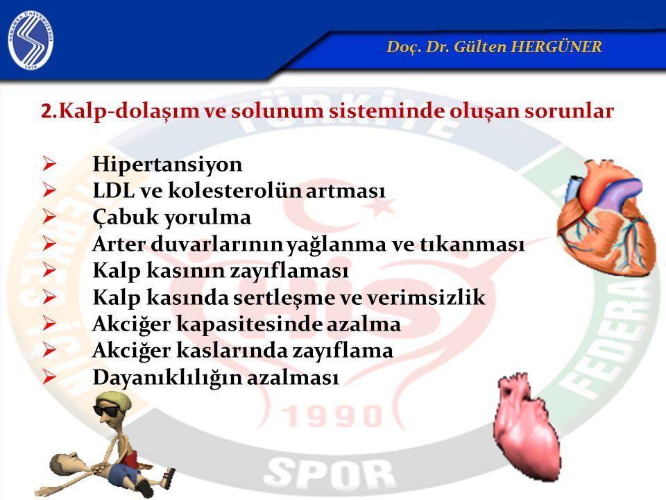 2.Kalp-dolaşım ve solunum sisteminde oluşan sorunlar  Hipertansiyon  LDL ve kolesterolün artması  Çabuk yorulma  Arter duvarlarının yağlanma ve tı