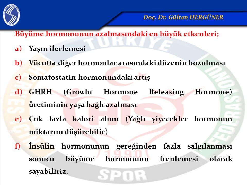 Büyüme hormonunun azalmasındaki en büyük etkenleri; a)Yaşın ilerlemesi b)Vücutta diğer hormonlar arasındaki düzenin bozulması c)Somatostatin hormonund