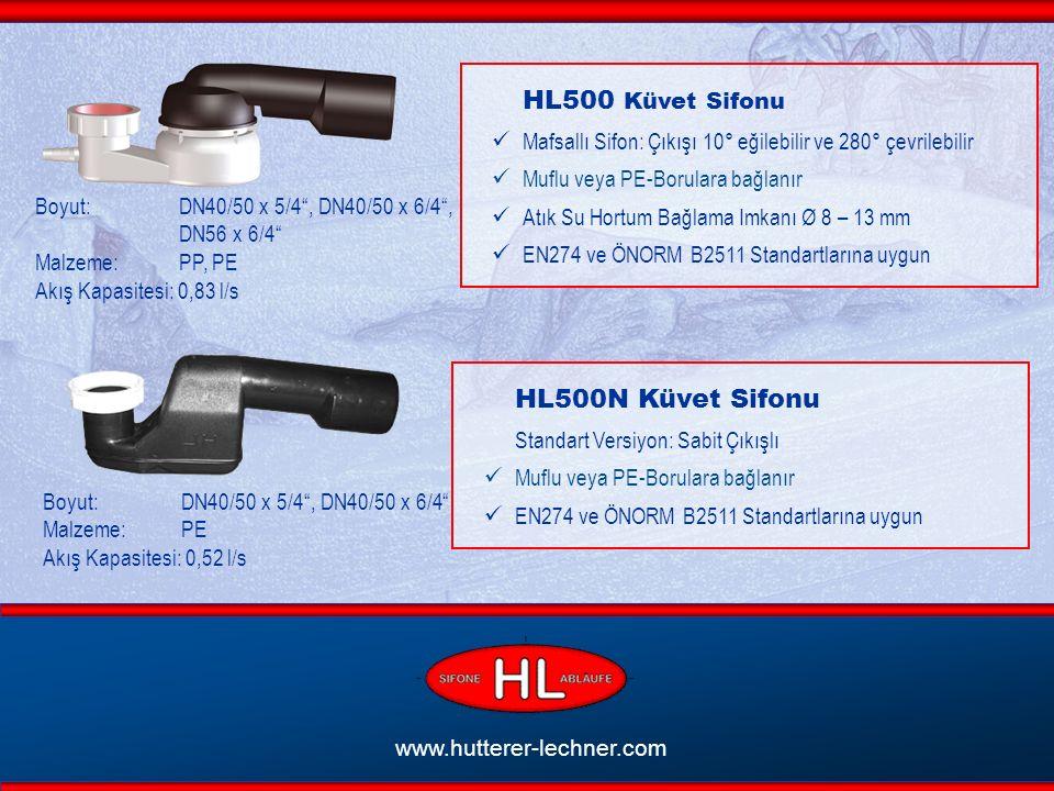 www.hutterer-lechner.com HL500 Küvet Sifonu Mafsallı Sifon: Çıkışı 10° eğilebilir ve 280° çevrilebilir Muflu veya PE-Borulara bağlanır Atık Su Hortum Bağlama Imkanı Ø 8 – 13 mm EN274 ve ÖNORM B2511 Standartlarına uygun Boyut: DN40/50 x 5/4 , DN40/50 x 6/4 , DN56 x 6/4 Malzeme: PP, PE Akış Kapasitesi: 0,83 l/s HL500N Küvet Sifonu Standart Versiyon: Sabit Çıkışlı Muflu veya PE-Borulara bağlanır EN274 ve ÖNORM B2511 Standartlarına uygun Boyut: DN40/50 x 5/4 , DN40/50 x 6/4 Malzeme: PE Akış Kapasitesi: 0,52 l/s