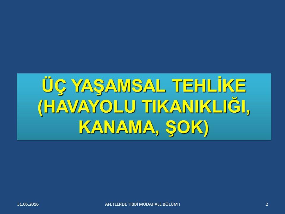 HAVAYOLU TIKANIKLIĞI 3AFETLERDE TIBBİ MÜDAHALE BÖLÜM I31.05.2016