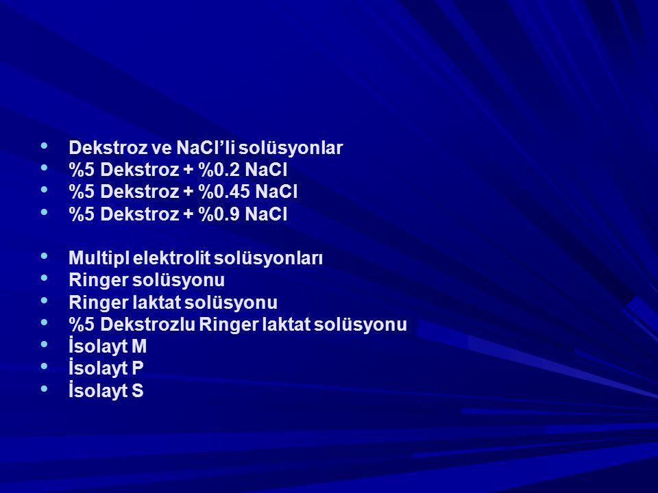 Dekstroz ve NaCl'li solüsyonlar %5 Dekstroz + %0.2 NaCl %5 Dekstroz + %0.45 NaCl %5 Dekstroz + %0.9 NaCl Multipl elektrolit solüsyonları Ringer solüsyonu Ringer laktat solüsyonu %5 Dekstrozlu Ringer laktat solüsyonu İsolayt M İsolayt P İsolayt S
