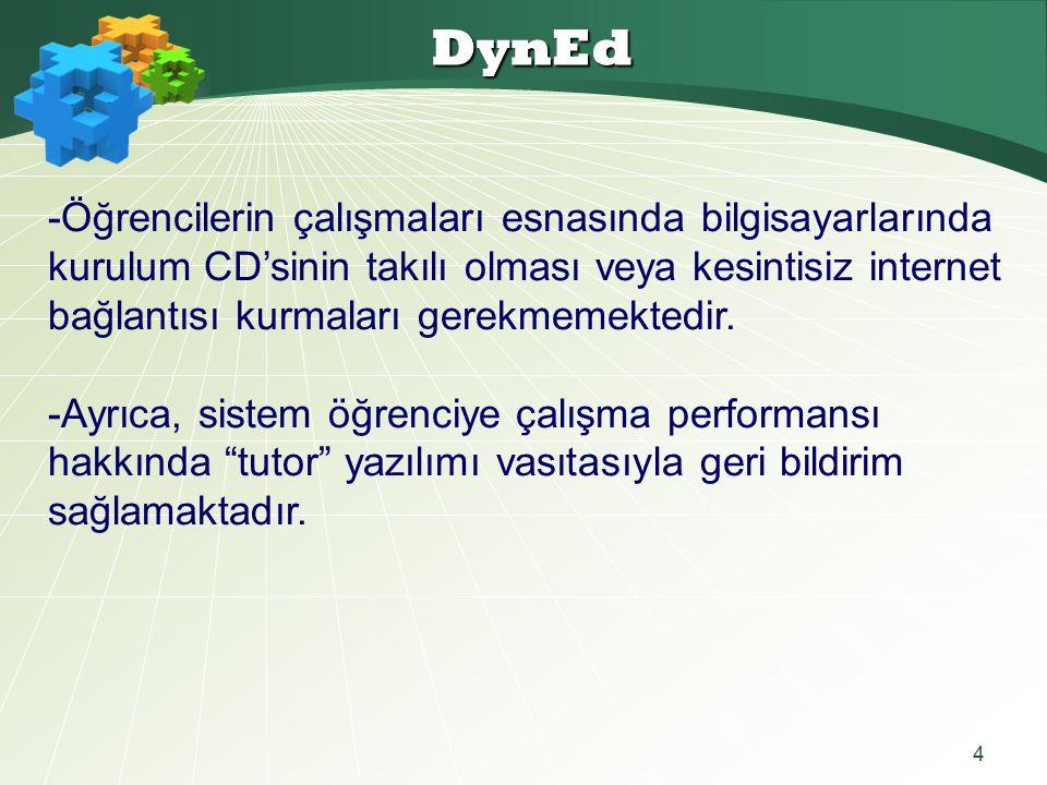 4 DynEd -Öğrencilerin çalışmaları esnasında bilgisayarlarında kurulum CD'sinin takılı olması veya kesintisiz internet bağlantısı kurmaları gerekmemektedir.