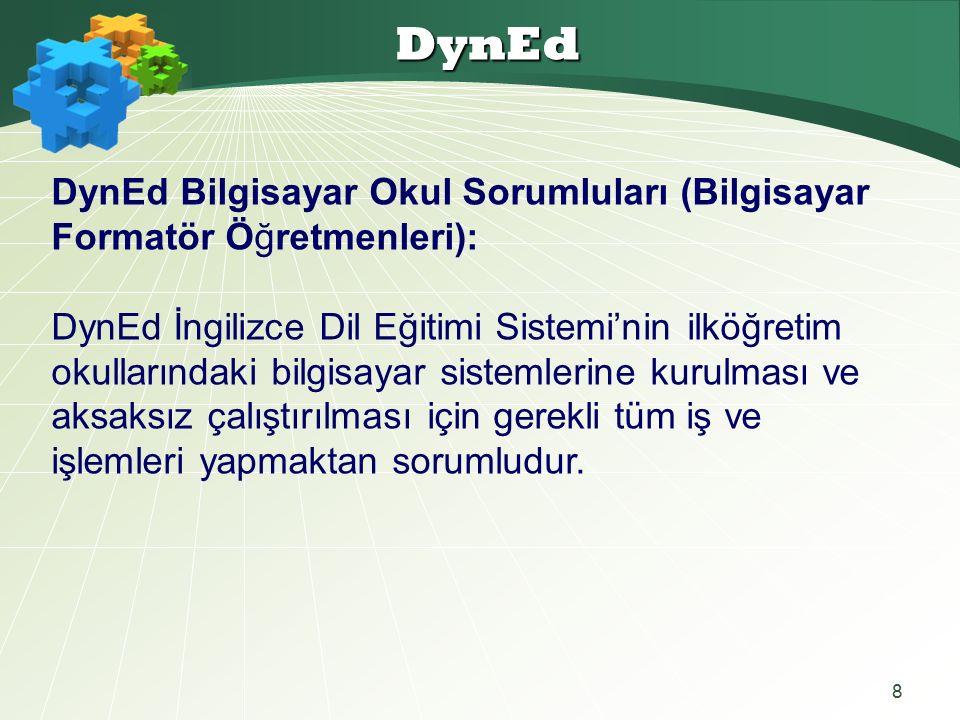 8 DynEd DynEd Bilgisayar Okul Sorumluları (Bilgisayar Formatör Öğretmenleri): DynEd İngilizce Dil Eğitimi Sistemi'nin ilköğretim okullarındaki bilgisayar sistemlerine kurulması ve aksaksız çalıştırılması için gerekli tüm iş ve işlemleri yapmaktan sorumludur.