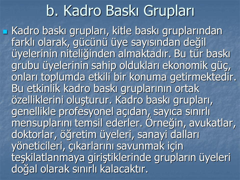b. Kadro Baskı Grupları Kadro baskı grupları, kitle baskı gruplarından farklı olarak, gücünü üye sayısından değil üyelerinin niteliğinden almaktadır.
