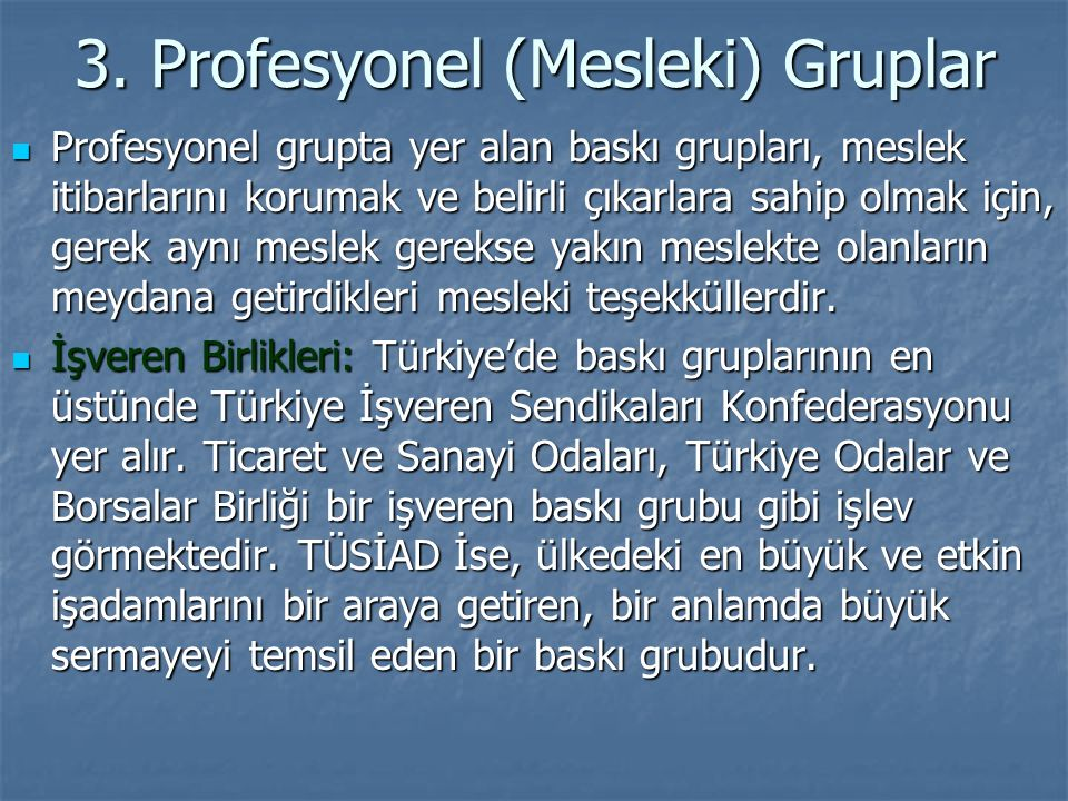 3. Profesyonel (Mesleki) Gruplar Profesyonel grupta yer alan baskı grupları, meslek itibarlarını korumak ve belirli çıkarlara sahip olmak için, gerek