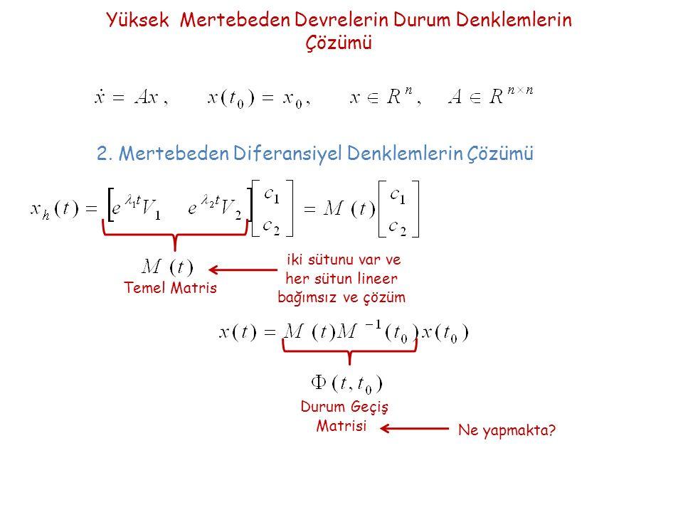 Yüksek Mertebeden Devrelerin Durum Denklemlerin Çözümü Temel Matris 2.