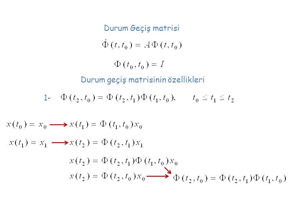 Durum geçiş matrisinin özellikleri Durum Geçiş matrisi 1-