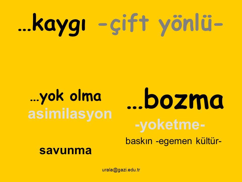 urala@gazi.edu.tr …kaygı -çift yönlü- …yok olma asimilasyon savunma …bozma -yoketme- baskın -egemen kültür-