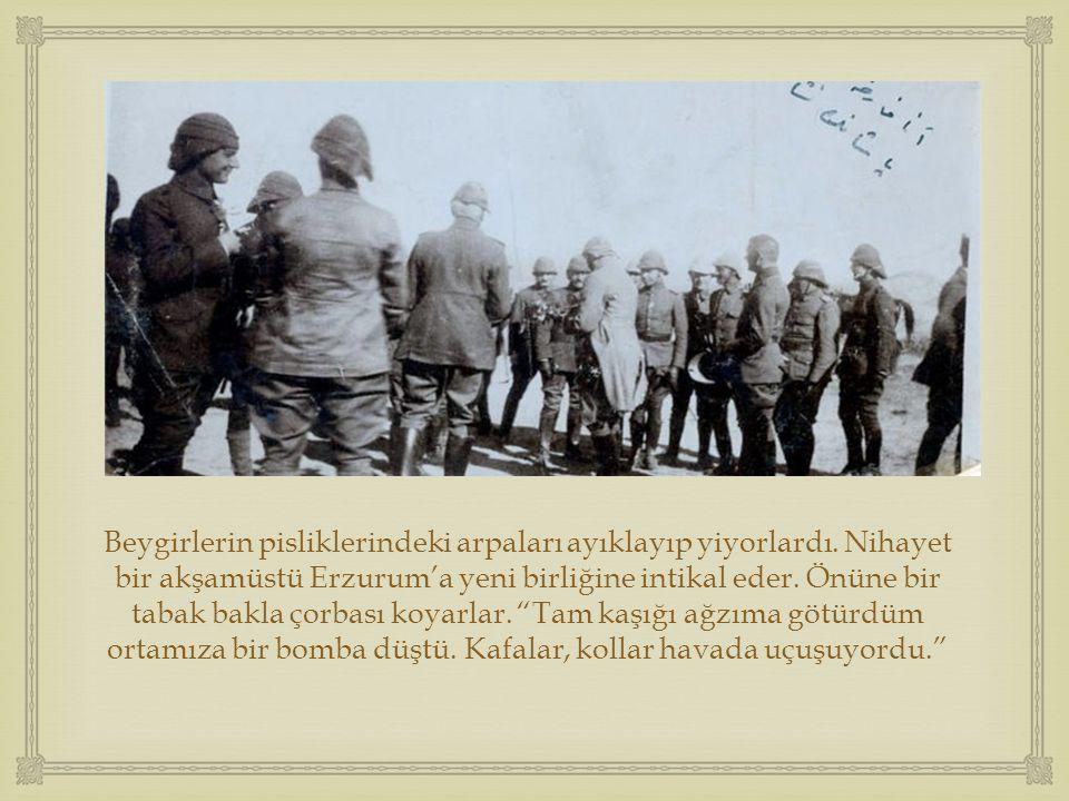  Beygirlerin pisliklerindeki arpaları ayıklayıp yiyorlardı. Nihayet bir akşamüstü Erzurum'a yeni birliğine intikal eder. Önüne bir tabak bakla çorbas