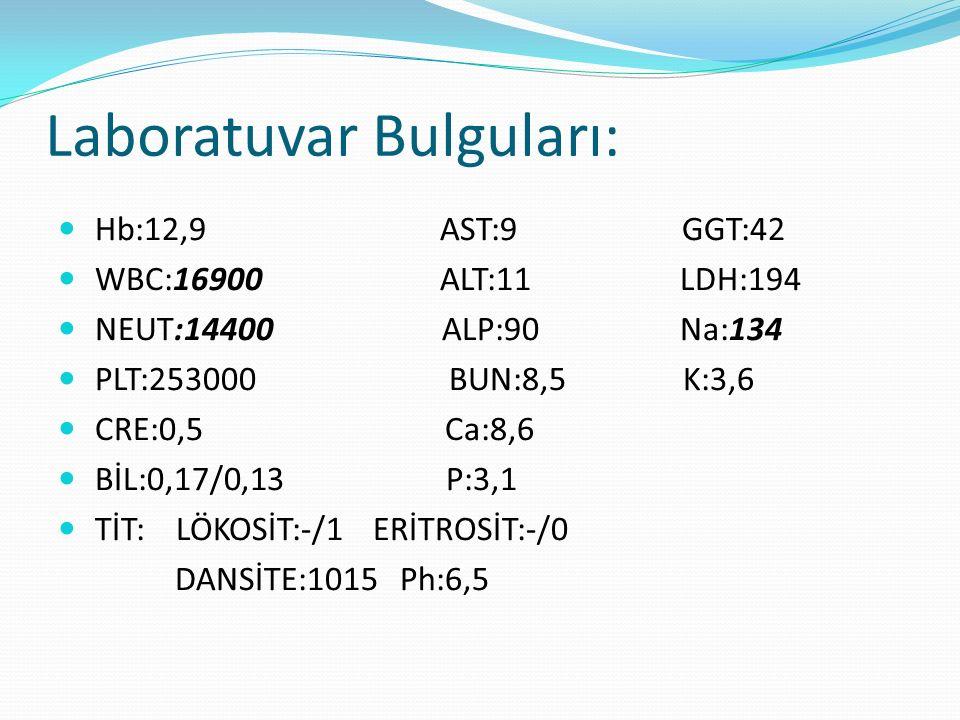 ACTH: 28.5 pg/mL (N) Kortizol: 4.2 μg/dL ( ↓) FSH: 0.3 IU/mL, (↓) LH: 0.07 IU/mL( ↓) GH: 0.34 ng/mL (N) TSH:1.67 µIU/mL, sT3: 2.52 pg/mL, sT4: 1.03 ng/dL (N) PRL :216 ng/mL(↑) HbA1c: % 4.9 (N) Somatomedin C:263,7(N)