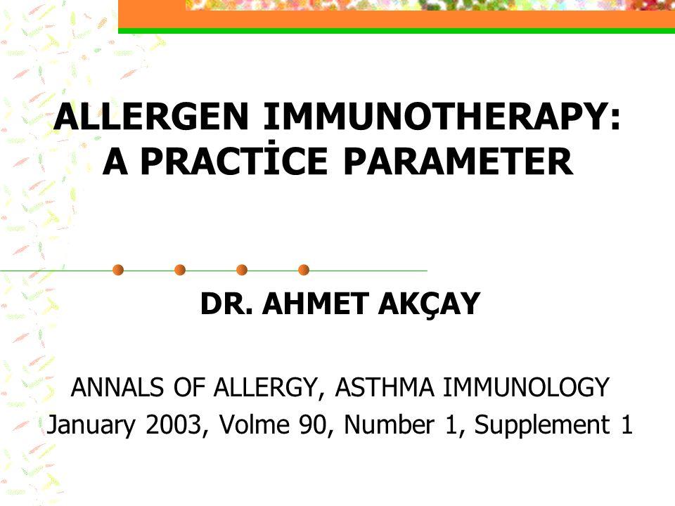 Birarada karışım için uyuşabilen allerjenler Yüksek proteaz aktiviteli allerjenler (Birlikte karıştırılabilir) -Arthropodlar (Toz akarı) -Mantar (Mantar sporları) -İnsektler (hamamböceği) Düşük Proteaz aktiviteli aşılar (Birlikte karıştırılabilir) -Çimen poleni -Ağaç poleni -Ot poleni -Hayvanlar (Kedi ve köpek allerjenler) Diğer allerjenler -Ragweed (yukarıdaki gruplarla karıştırılabilir) -İnsekt venomları (Ayrı şişe ve farklı enjeksiyonlar gerekir)