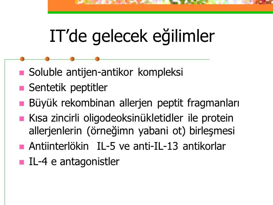 IT'de gelecek eğilimler Soluble antijen-antikor kompleksi Sentetik peptitler Büyük rekombinan allerjen peptit fragmanları Kısa zincirli oligodeoksinükletidler ile protein allerjenlerin (örneğimn yabani ot) birleşmesi Antiinterlökin IL-5 ve anti-IL-13 antikorlar IL-4 e antagonistler