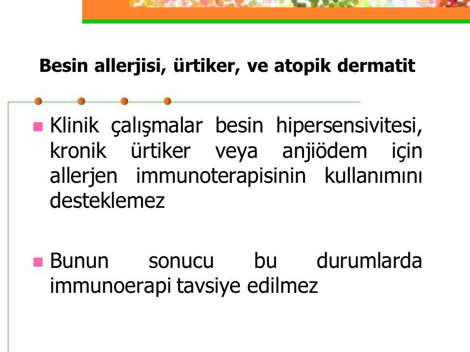 Besin allerjisi, ürtiker, ve atopik dermatit Klinik çalışmalar besin hipersensivitesi, kronik ürtiker veya anjiödem için allerjen immunoterapisinin kullanımını desteklemez Bunun sonucu bu durumlarda immunoerapi tavsiye edilmez