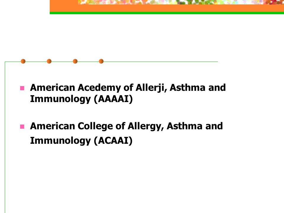 ACAAI AAAAI JCAAI (Joint Council of Allergy, Asthma Immunology)