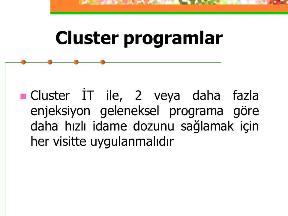 Cluster programlar Cluster İT ile, 2 veya daha fazla enjeksiyon geleneksel programa göre daha hızlı idame dozunu sağlamak için her visitte uygulanmalıdır