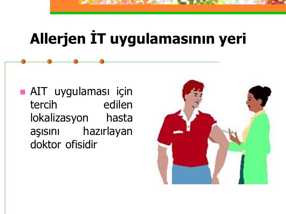 Allerjen İT uygulamasının yeri AIT uygulaması için tercih edilen lokalizasyon hasta aşısını hazırlayan doktor ofisidir