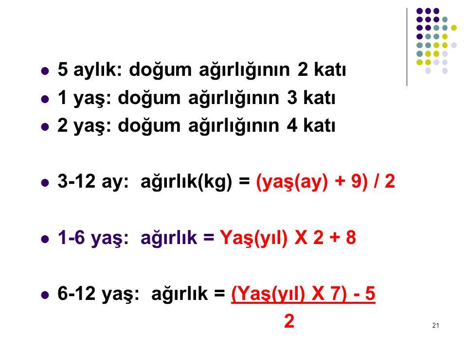 5 aylık: doğum ağırlığının 2 katı 1 yaş: doğum ağırlığının 3 katı 2 yaş: doğum ağırlığının 4 katı 3-12 ay: ağırlık(kg) = (yaş(ay) + 9) / 2 1-6 yaş: ağ