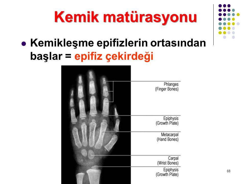Kemik matürasyonu Kemikleşme epifizlerin ortasından başlar = epifiz çekirdeği 68
