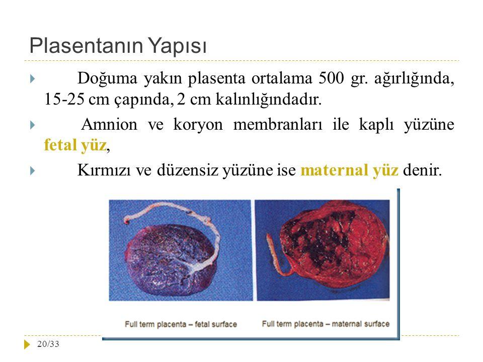 Plasentanın Yapısı  Doğuma yakın plasenta ortalama 500 gr. ağırlığında, 15-25 cm çapında, 2 cm kalınlığındadır.  Amnion ve koryon membranları ile ka