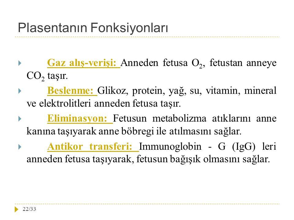 Plasentanın Fonksiyonları  Gaz alış-verişi: Anneden fetusa O 2, fetustan anneye CO 2 taşır.  Beslenme: Glikoz, protein, yağ, su, vitamin, mineral ve
