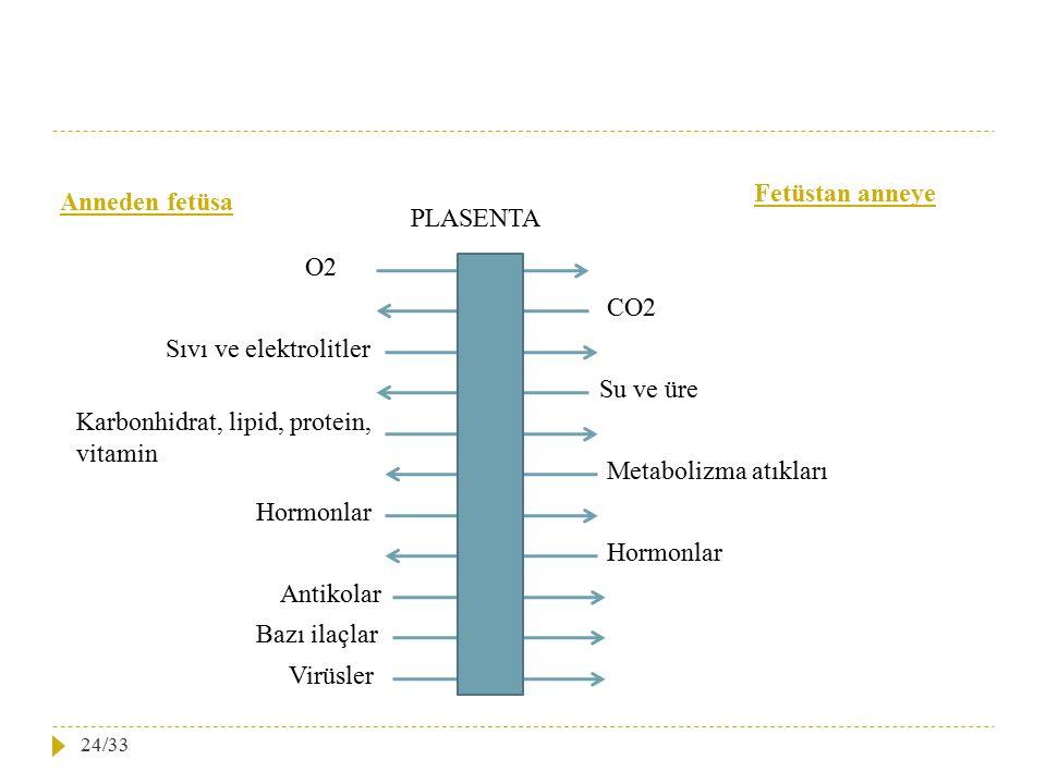 PLASENTA Anneden fetüsa Fetüstan anneye O2 Sıvı ve elektrolitler CO2 Su ve üre Karbonhidrat, lipid, protein, vitamin Metabolizma atıkları Hormonlar An