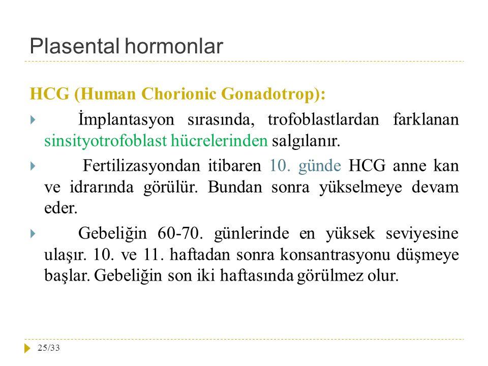 Plasental hormonlar HCG (Human Chorionic Gonadotrop):  İmplantasyon sırasında, trofoblastlardan farklanan sinsityotrofoblast hücrelerinden salgılanır