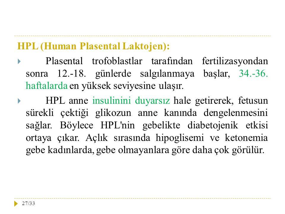 HPL (Human Plasental Laktojen):  Plasental trofoblastlar tarafından fertilizasyondan sonra 12.-18. günlerde salgılanmaya başlar, 34.-36. haftalarda e