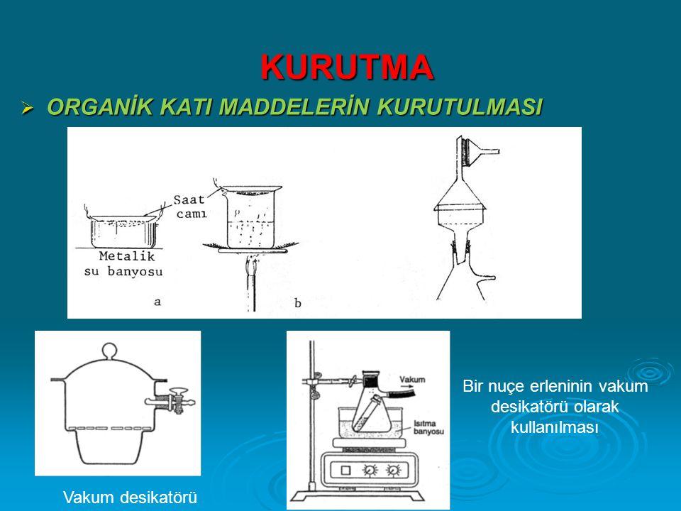 KURUTMA KURUTMA  ORGANİK KATI MADDELERİN KURUTULMASI Vakum desikatörü Bir nuçe erleninin vakum desikatörü olarak kullanılması